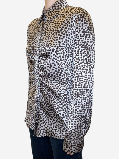Beige & brown silky gathered polka dot blouse - size IT 44