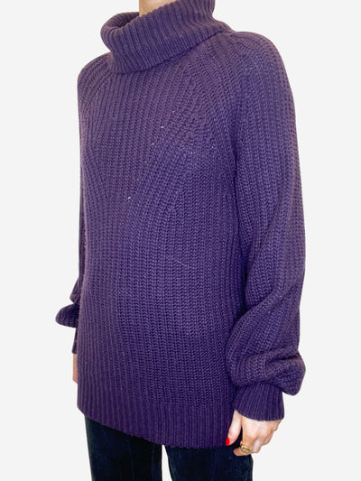Dark purple puff sleeve roll neck jumper - size UK 10