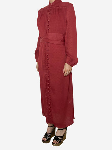 Rust long sleeve button through midi dress - size S