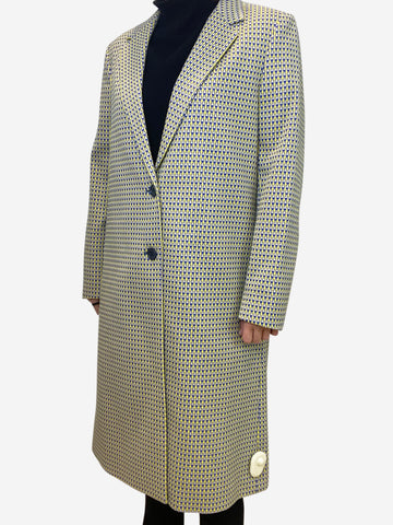 Geometric pattern long double breasted coat - size FR 38