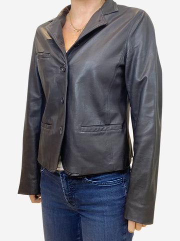 Navy leather jacket - size UK 12