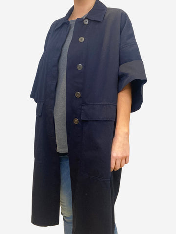 Navy button up oversized coat with short sleeves - size UK 6