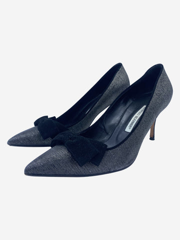 Black & silver metallic pointed heels with suede bow - size EU 39.5