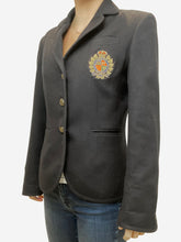 Load image into Gallery viewer, Navy blazer with red and gold crest - size UK 10