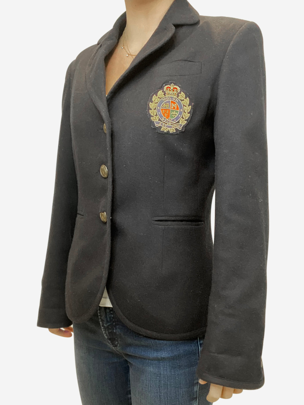Navy blazer with red and gold crest - size UK 10