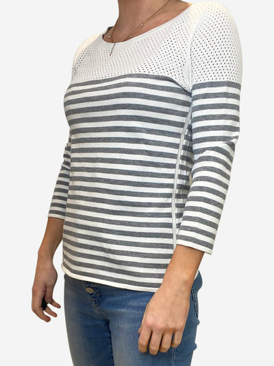 Grey and white striped long sleeve shirt - size S