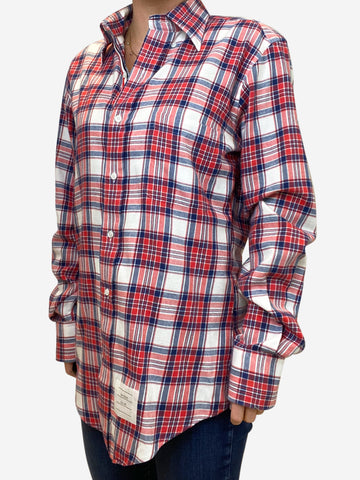 Red and blue plaid shirt - size UK 10