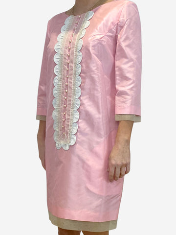 Baby pink mid sleeve dress - size UK 10