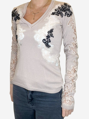 Nude v neck jumper with black lace - size S