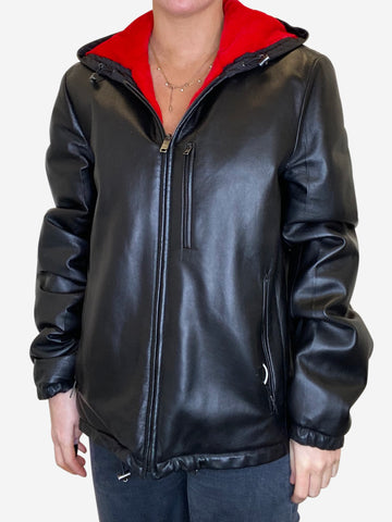 Black leather hooded jacket - size M