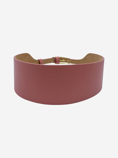 Pink thick leather waist belt - size M