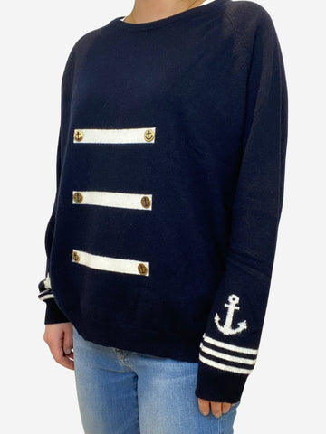 Navy and white jumper with anchor buttons - size S