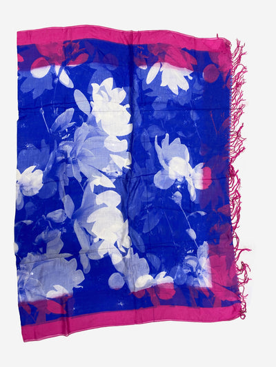 Electric blue and pink raw silk scarf