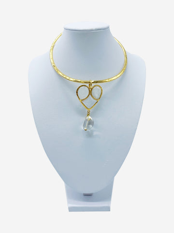 Gold plated glass and crystal choker