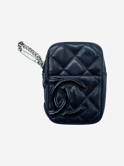 Cambon black quilted leather zip around belt pouch