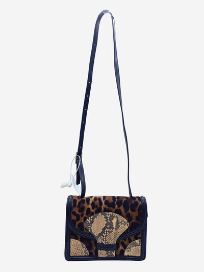Cheetah print and snakeskin leather crossbody bag