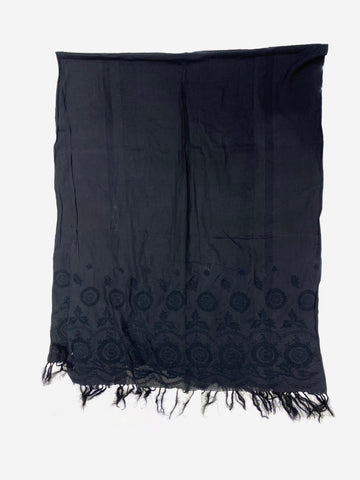 Black embroidered tassel scarf