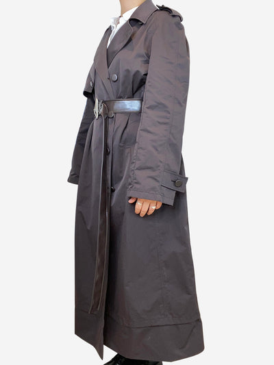 Long brown nylon trench coat with faux leather accent belt- size UK 8