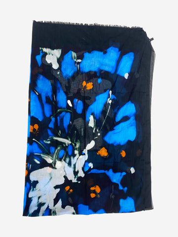 Black blue and orange graphic print scarf