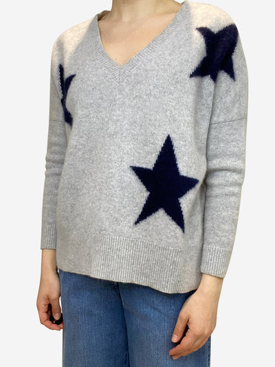 Grey and navy v-neck star print cashmere jumper - size S
