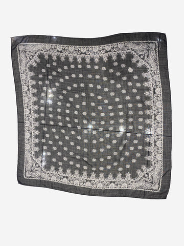 Black & white wool paisley scarf