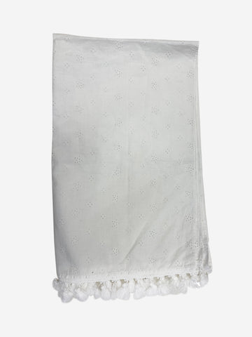 White broderie anglaise tasseled scarf