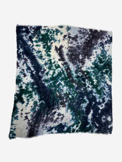 Navy, dark green, purple and cream tie dye cashmere scarf