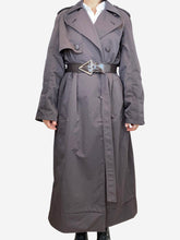 Load image into Gallery viewer, Brown dark brown belted rain coat - size 8