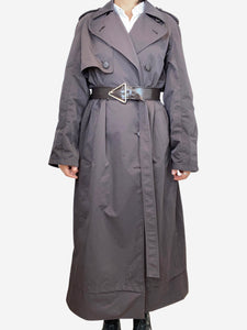 Bottega Veneta Brown dark brown belted rain coat - size 8