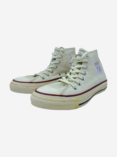 Andre cream & purple lace up trainers - size EU 38