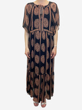 Load image into Gallery viewer, Black short sleeves paisley print midi dress - size UK 8