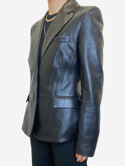 Black leather single breasted blazer - size UK 12