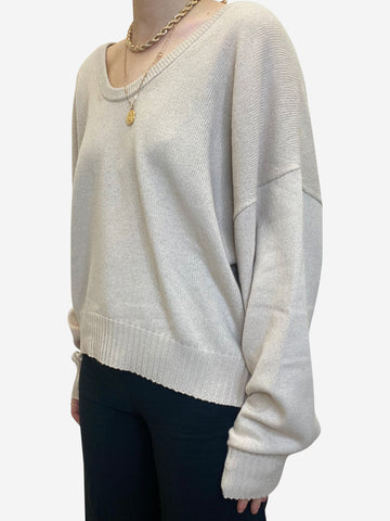 Beige scoop neck wool sweater - size S
