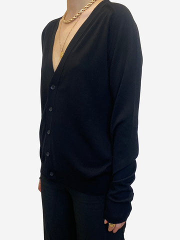 Black fine knit cardigan - size S