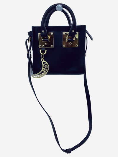Black and gold mini cross-body bag