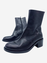 Load image into Gallery viewer, Black flat leather ankle boots - size EU 36