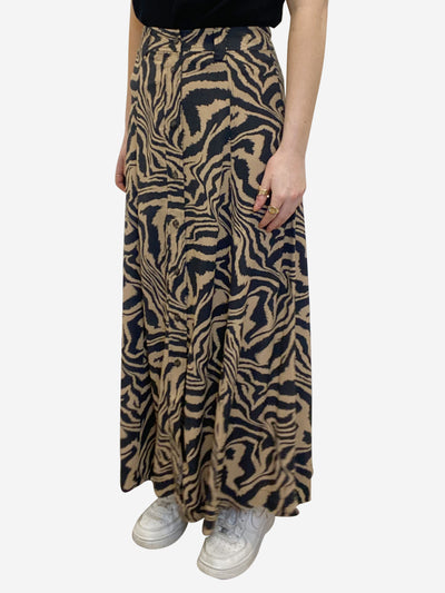 Beige & washed black zebra print skirt - size EU 34