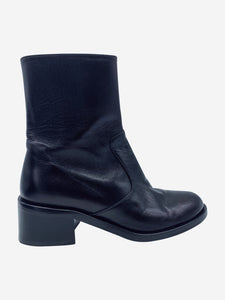 Black flat leather ankle boots - size EU 36
