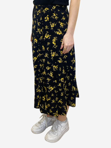 Black & yellow floral button through midi skirt - size EU 40