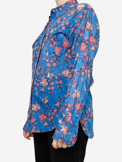 Blue and pink paisley blouse with western style accents- size UK 10