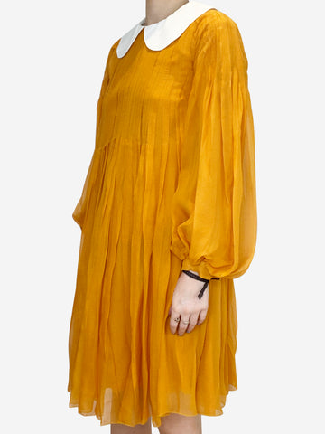 Mustard Peter Pan collar pleated dress - size FR 38