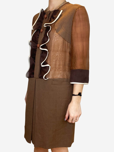 Brown ruffle shift dress - size FR 38