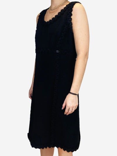 Black ruffle trim sleeveless dress- size UK 10
