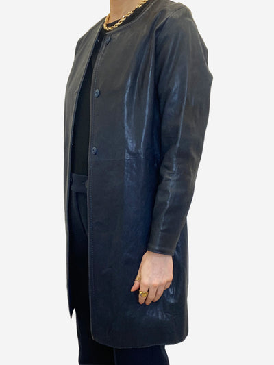 Navy collarless leather coat - size IT 40