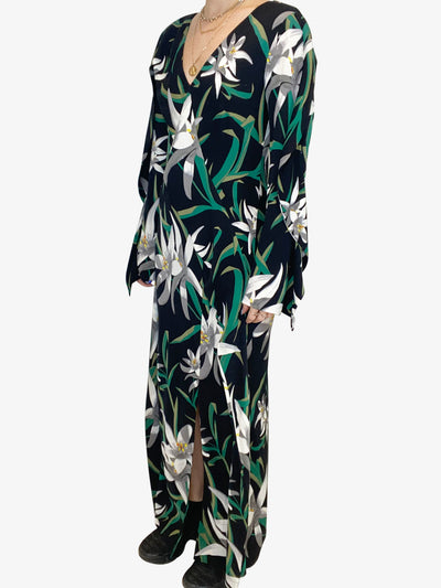 Black 'Harlow' midi dress with green and white floral accents- size UK 12