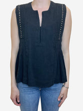 Load image into Gallery viewer, Black sleeveless blouse top - size UK 10