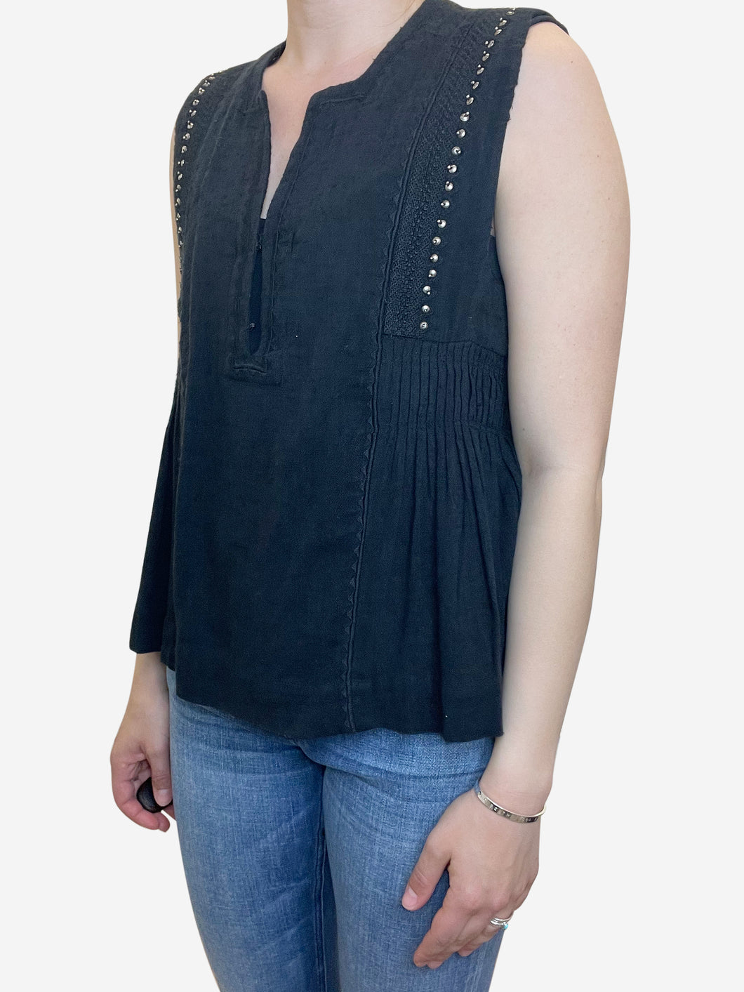 Black sleeveless blouse top - size UK 10