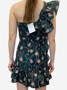 Isabel Marant Grey floral one shoulder ruffle dress - size FR 36