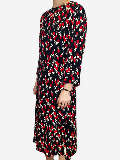 Black midi dress with cream and red floral accents- size UK 12