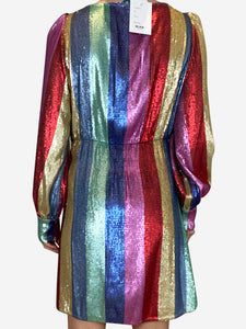 Ava multi stripe sequin mini dress - size M